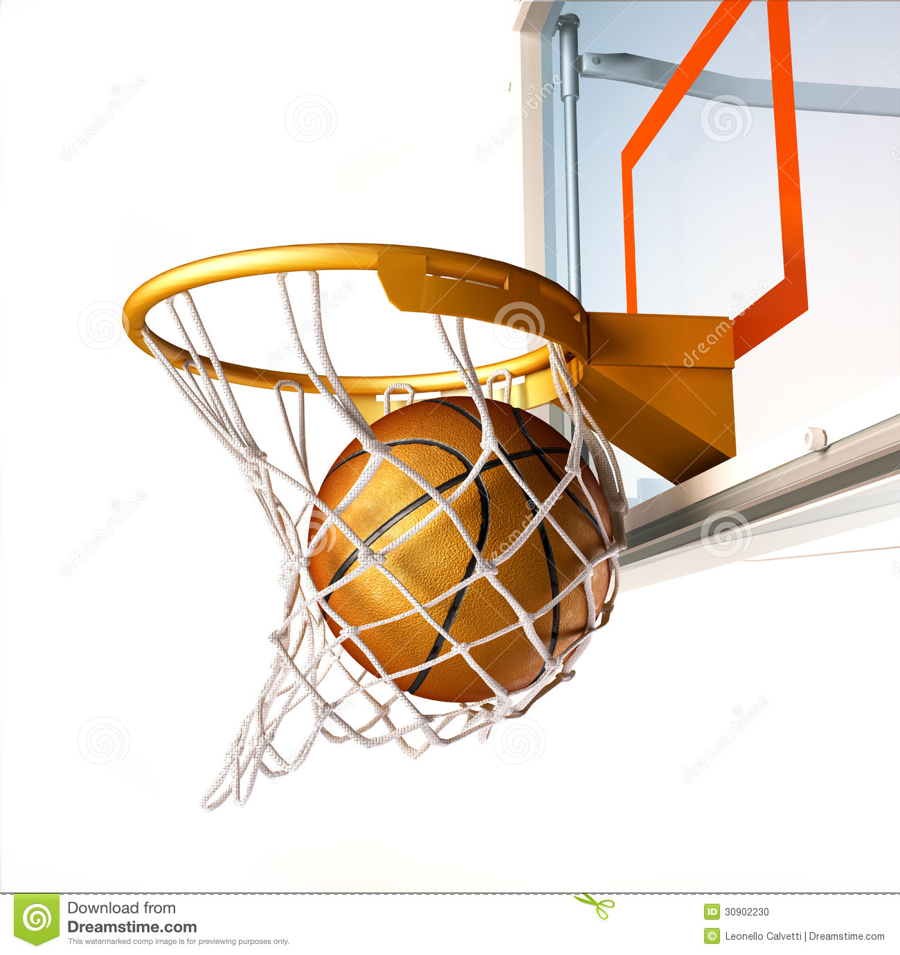Basketball Centering The Basket Close Up View Stock Illustration