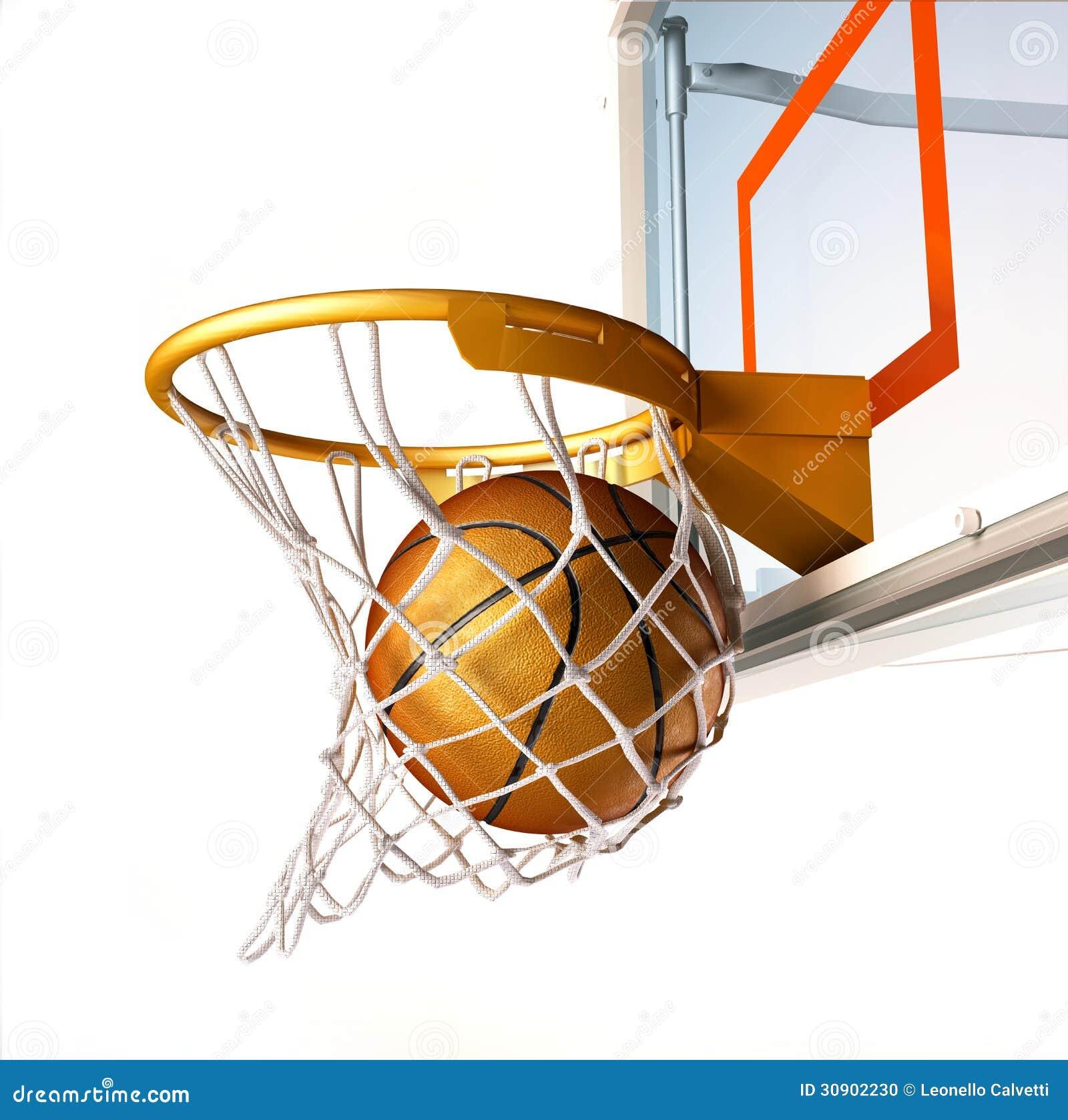 Basketball centering the basket close up view stock - Panier de basket mural ...