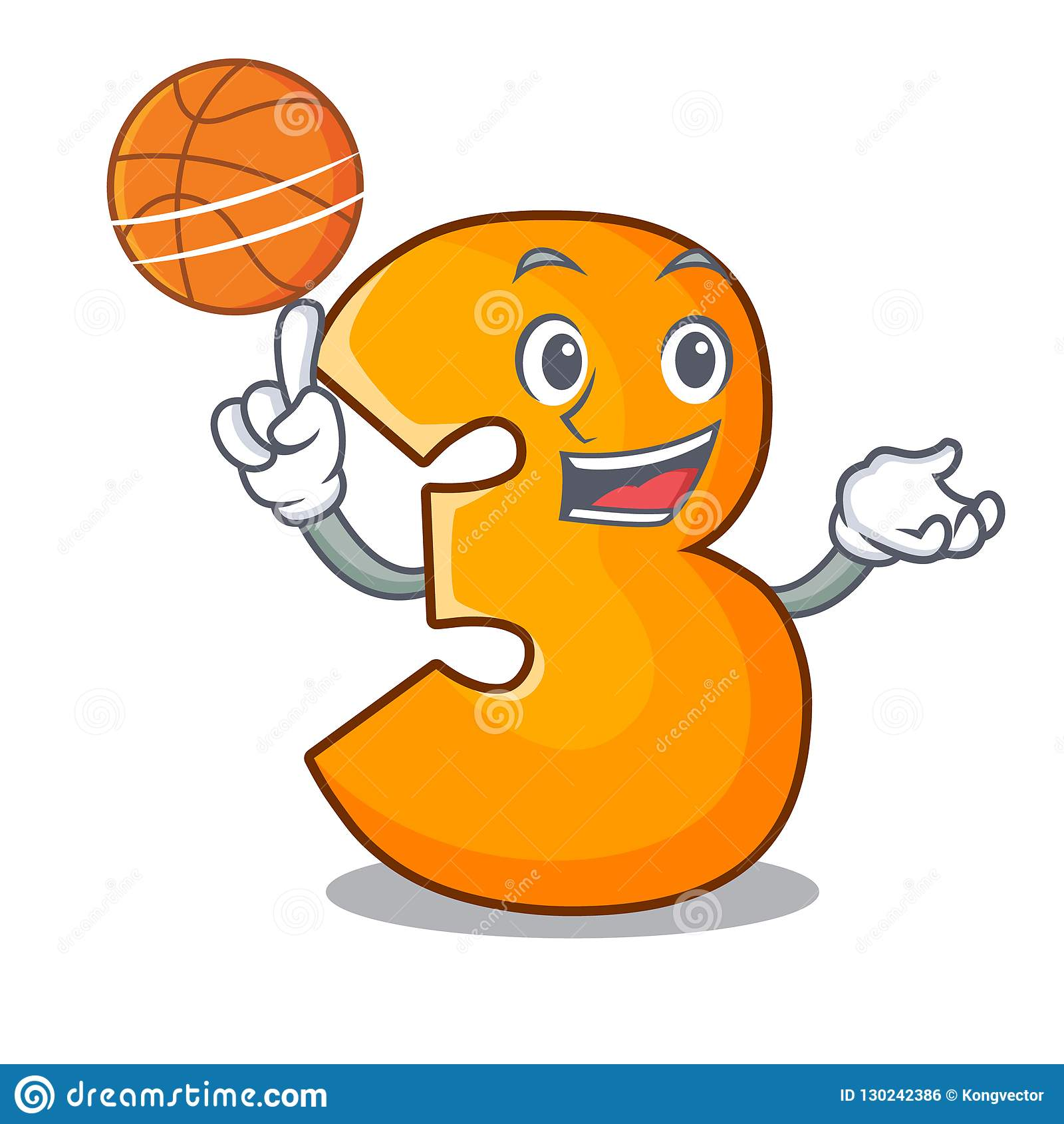 With Basketball Character Paper Cut Number Three Letter