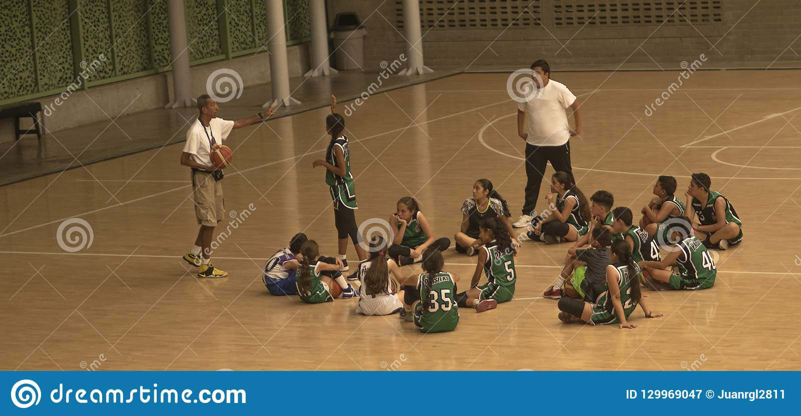 Basketball coach and his team