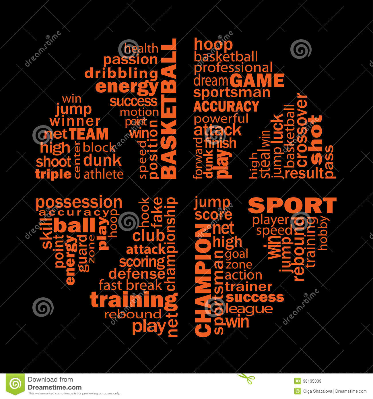 Basketball text collage for sports design. Vector illustration. The ...