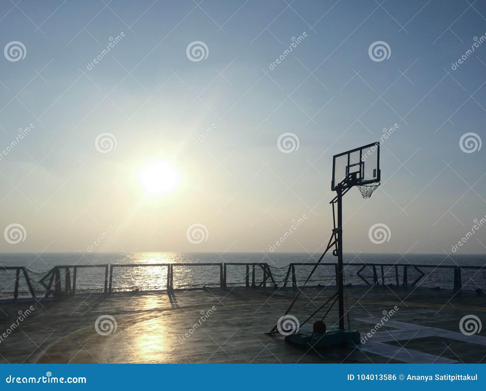 Basketball Court Backboard On Helideck In Seismic Vessel Ship In