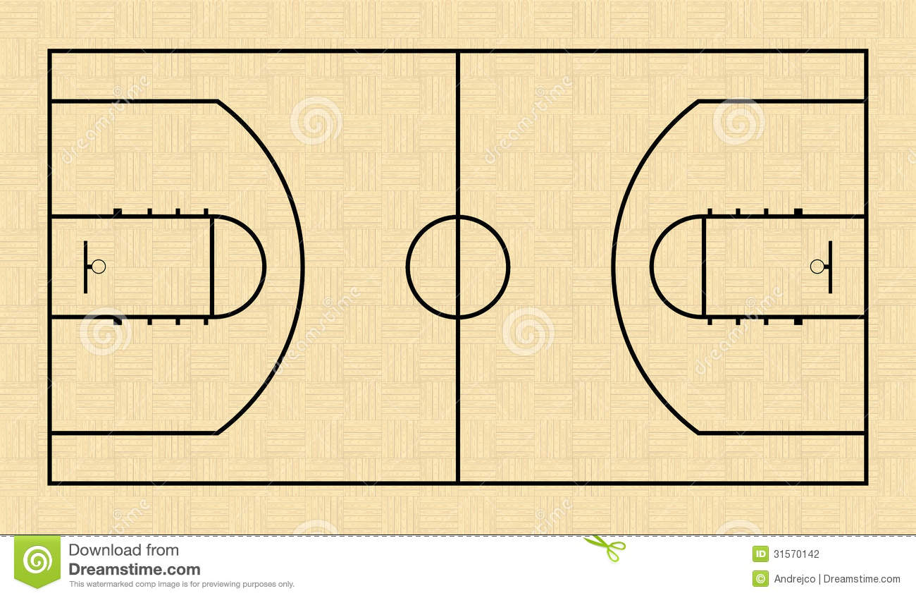 Basketball court stock vector image of panel graphic for Basketball floor plan