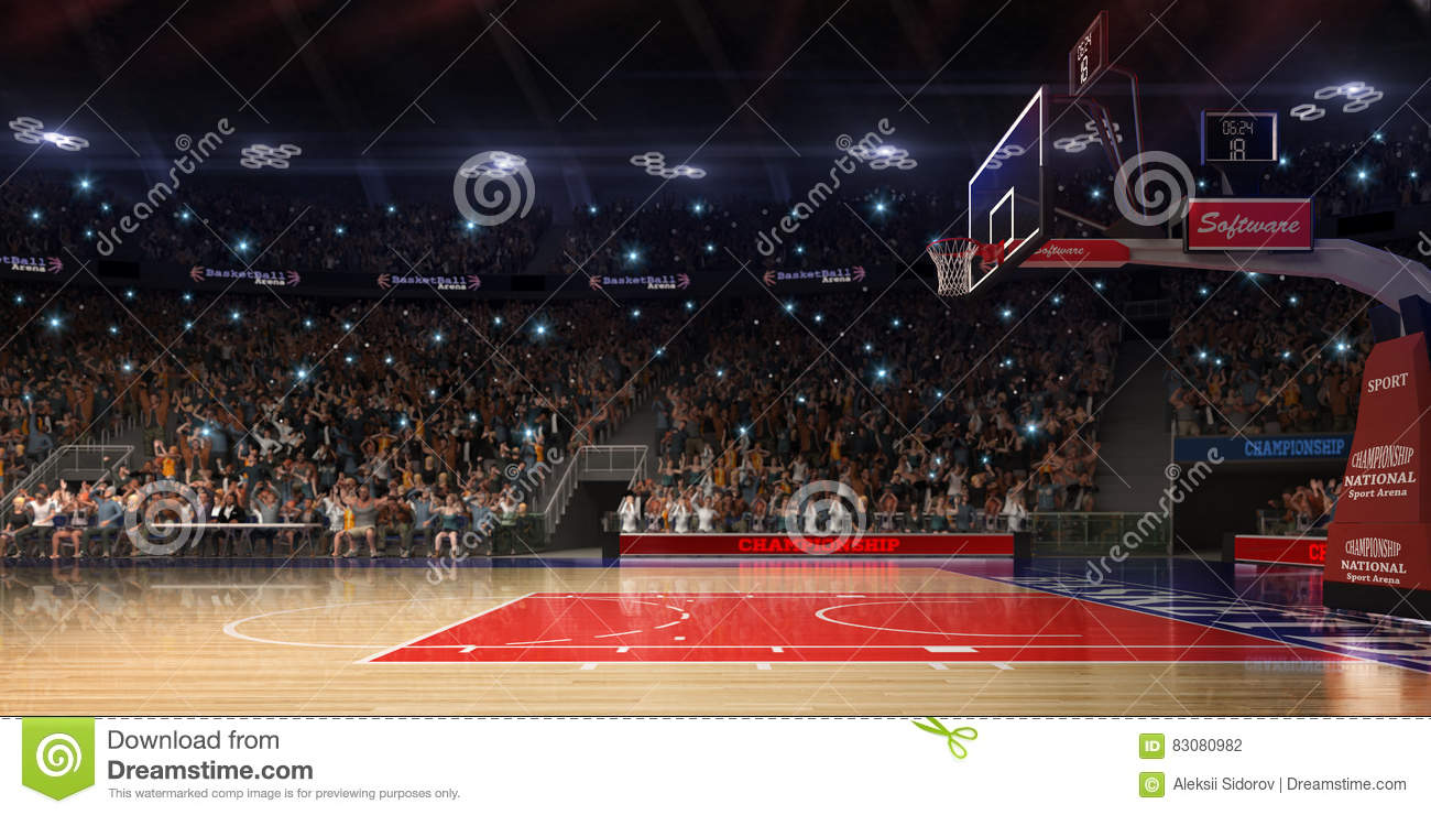 Download Basketball Court With People Fan. Sport Arena.Photoreal 3d Render Background. Blured In Long Shot Distancelike Leans Optical, Stock Photo - Image of glowing, colors: 83080982