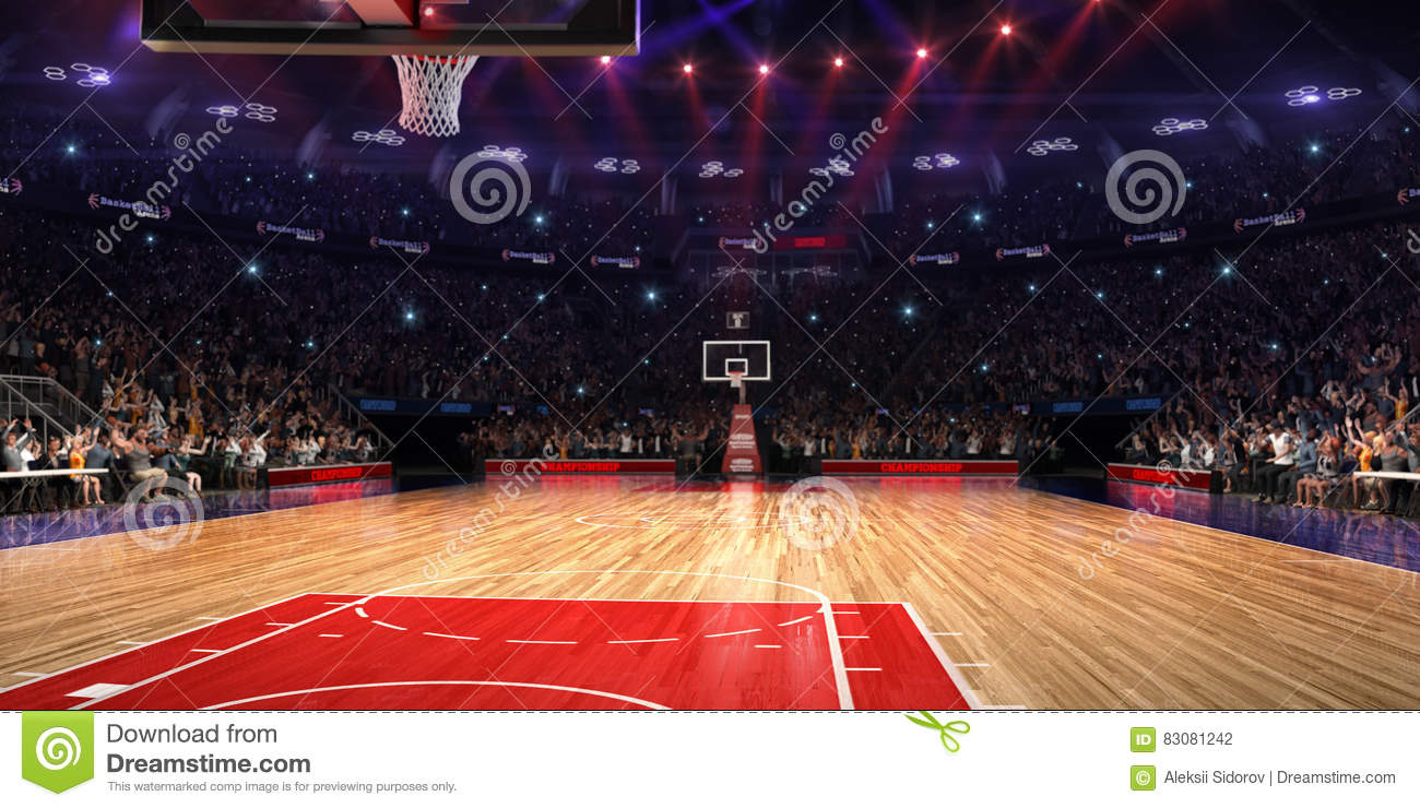 Basketball Court With People Fan Sport Arena Photoreal