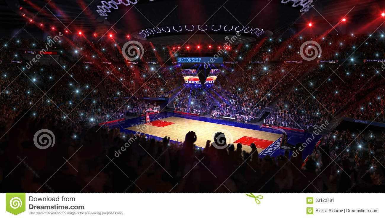 Basketball court with people fan. Sport arena.Photoreal 3d render background. blured in long shot distancelike leans optical