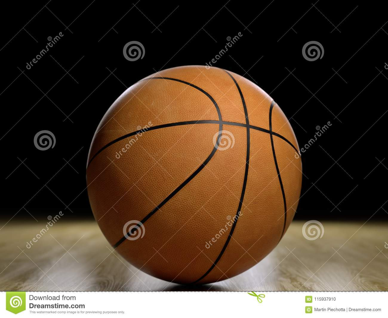 Basketball court wooden floor with ball isolated on black with c