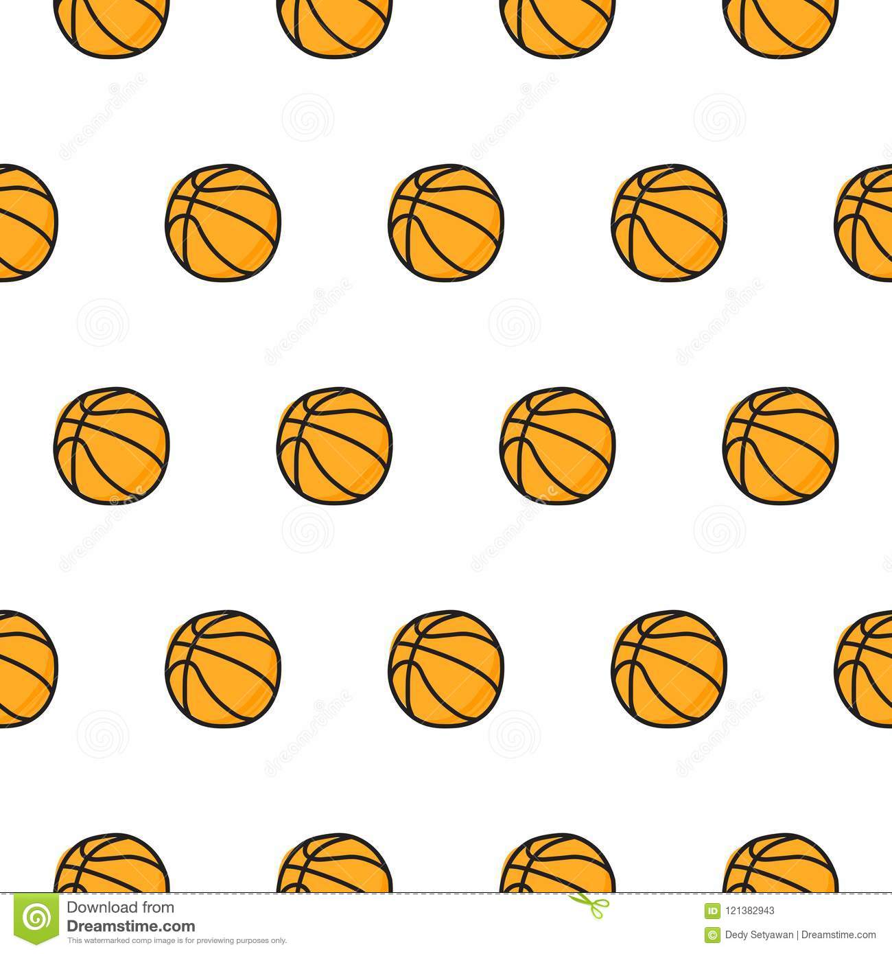 Basketball Doodle Seamless Pattern Stock Vector Illustration Of