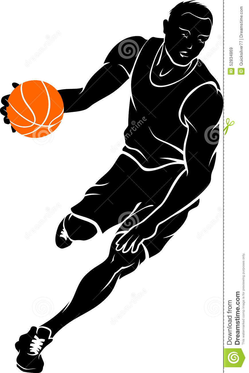 Basketball Dribble Silhouette Stock Vector - Image: 52834869