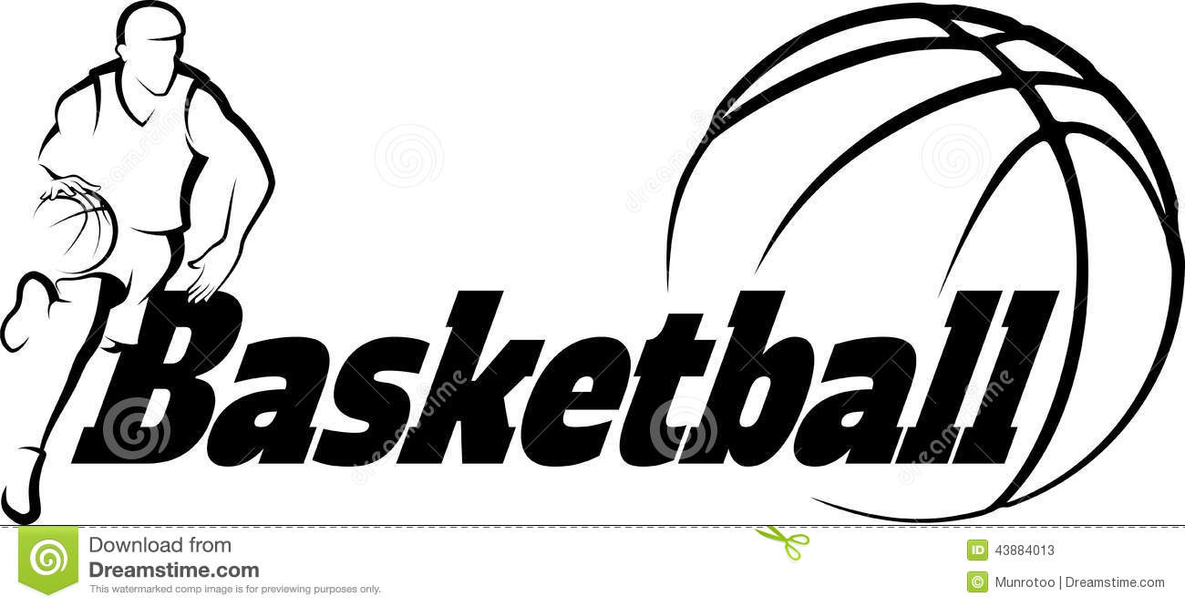 Basketball Drive To Basket With Stylized Ball With Word Basketba Stock ...