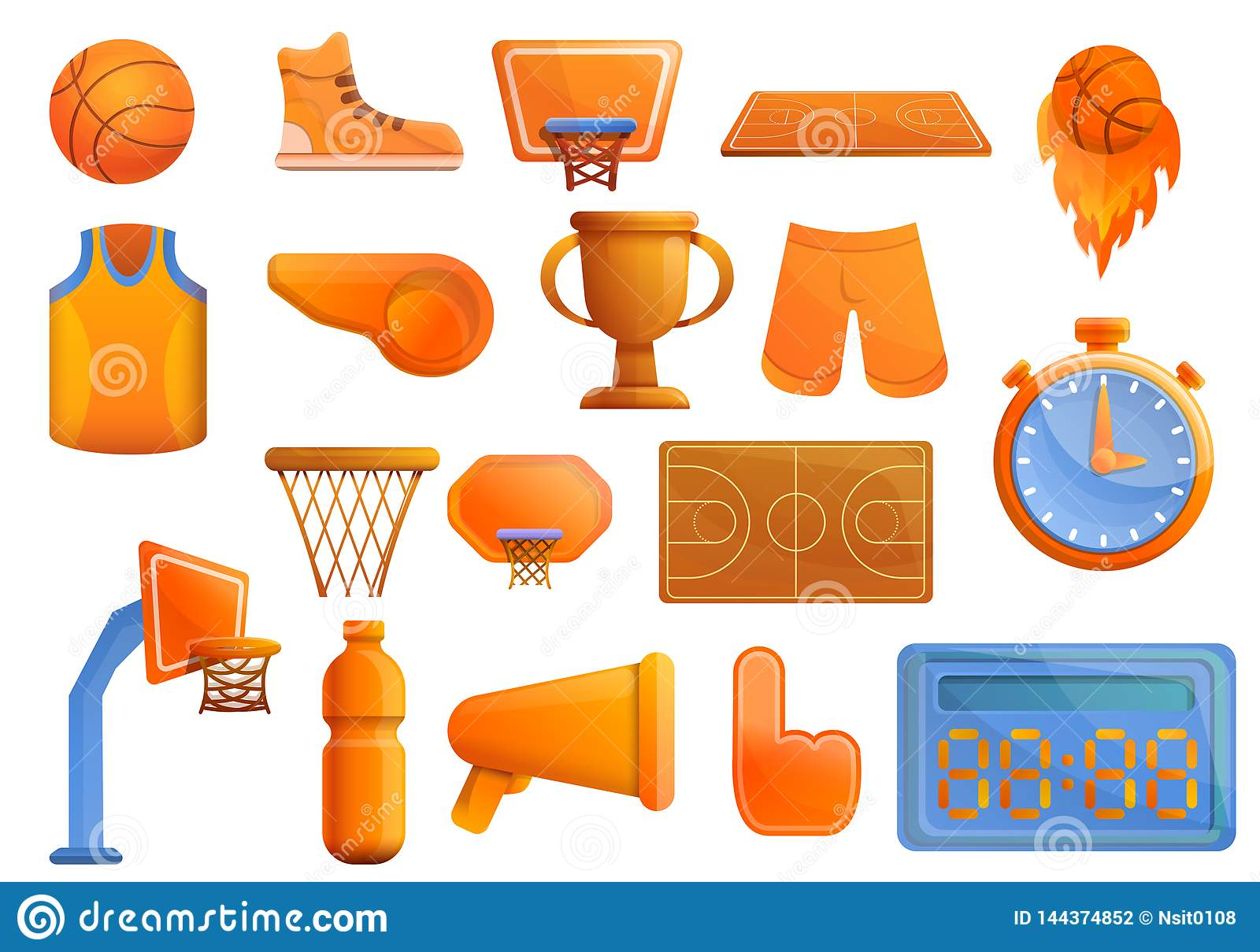 Basketball equipment icons set, cartoon style