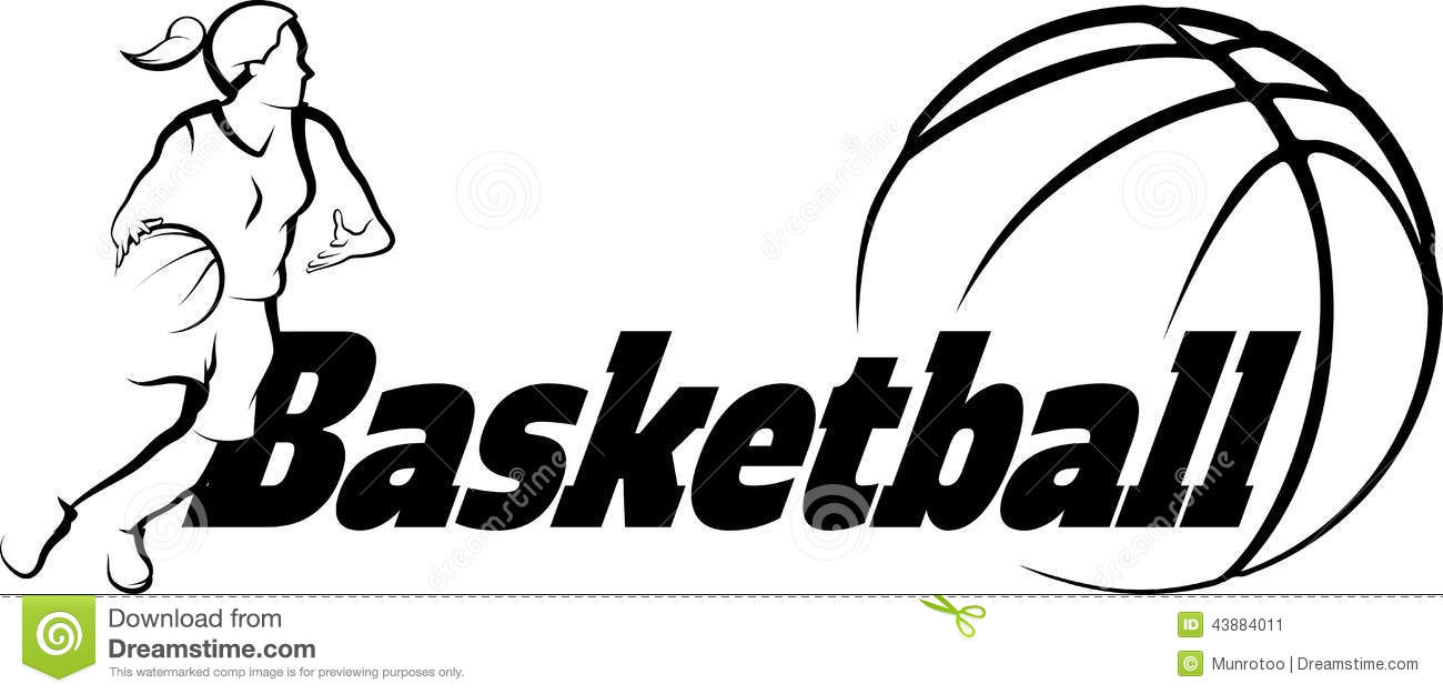 Basketball Female Driving To Basket With Stylized Ball