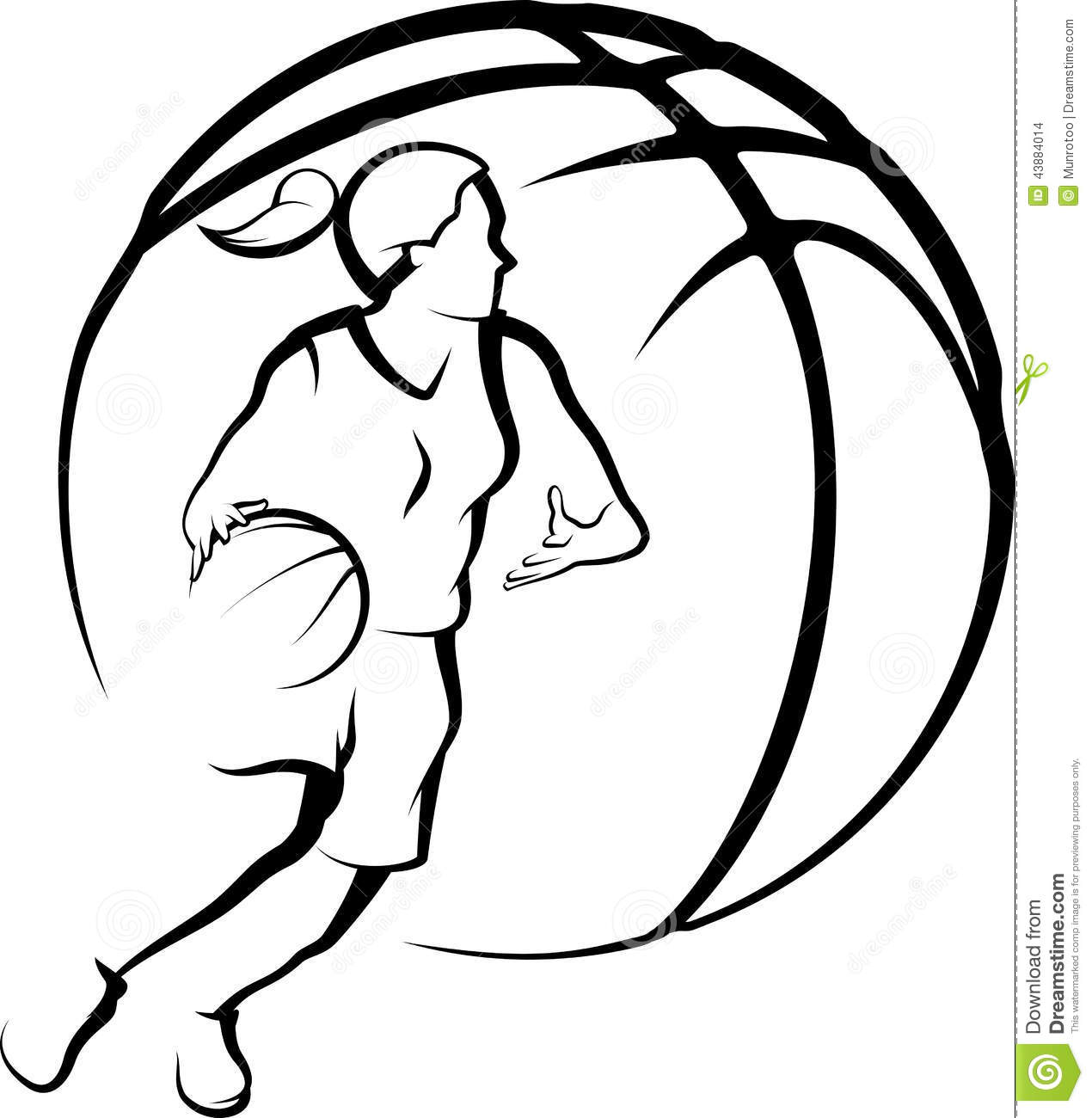 girl basketball player driving to the basket inside a stylized ballBasketball Drawings Step By Step