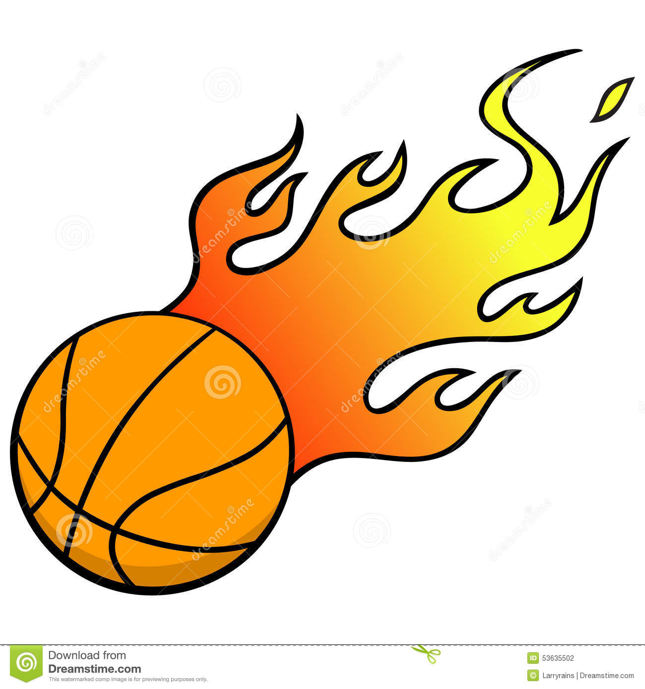 basketball with flames stock vector illustration of basketball