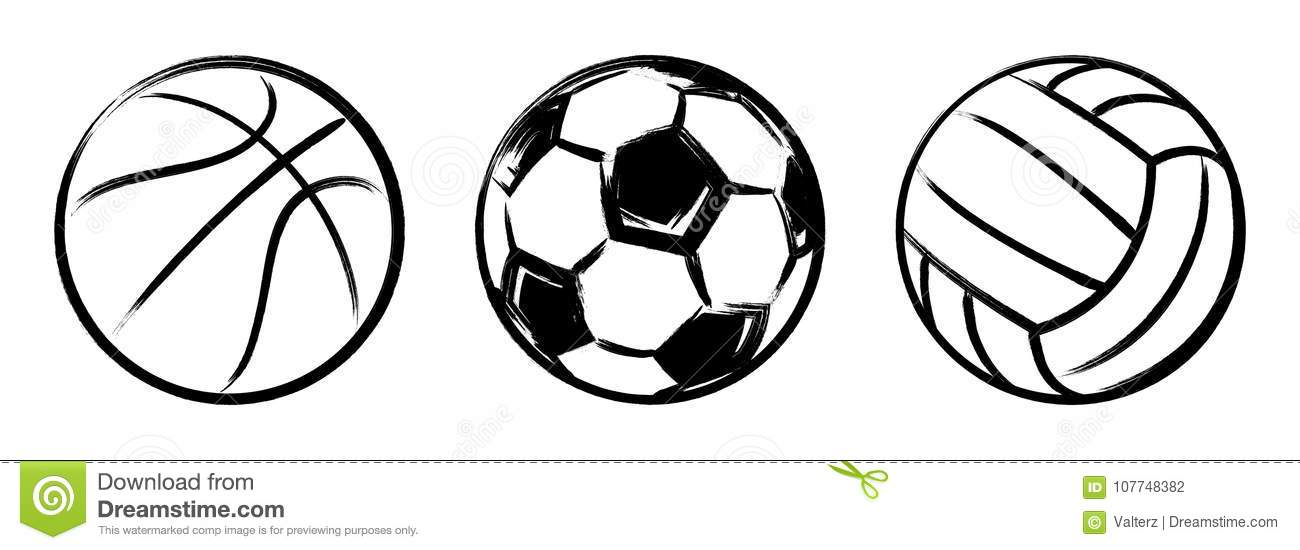 Basketball, football and volleyball balls grunge vector