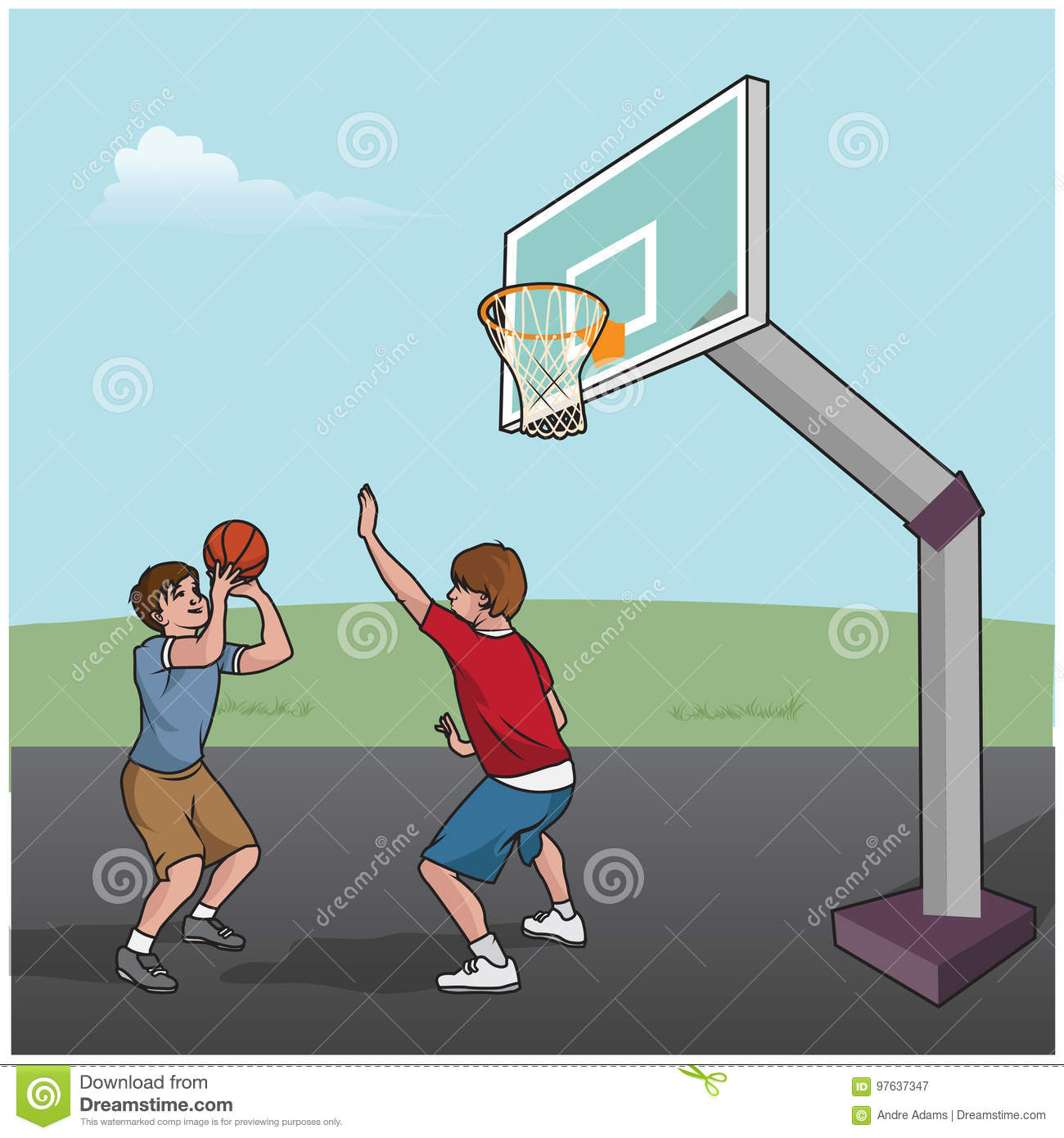 Basketball Game Boys Stock Vector Illustration Of Pose 97637347