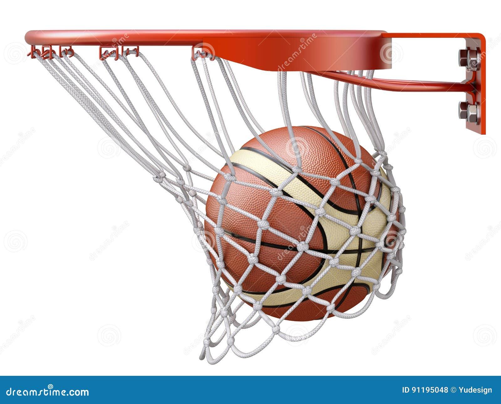 basketball going into the basket hoop stock illustration