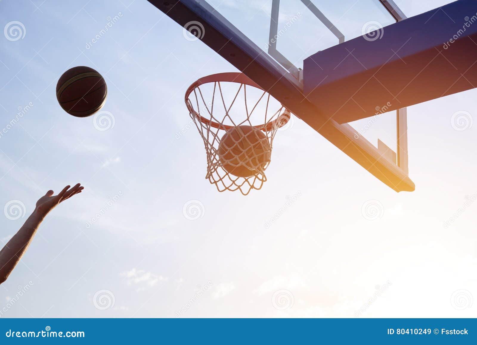 basketball going through the basket stock image image of