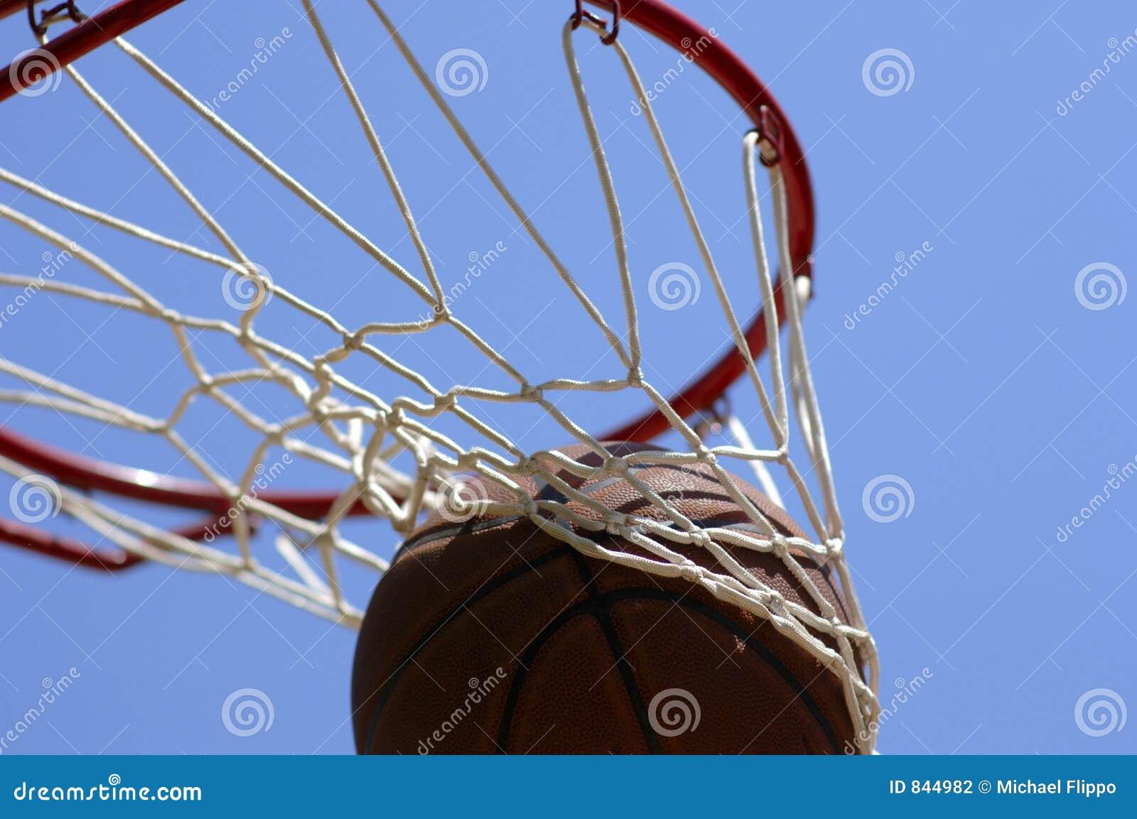 Basketball going through net
