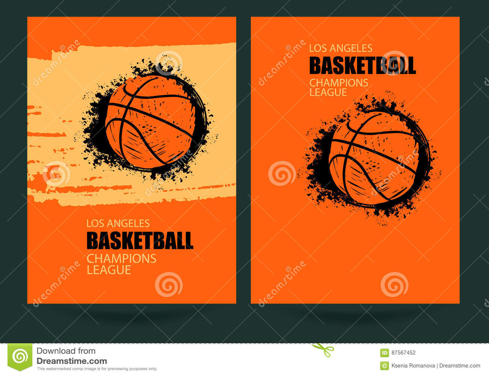 basketball grunge posters design stock illustration illustration