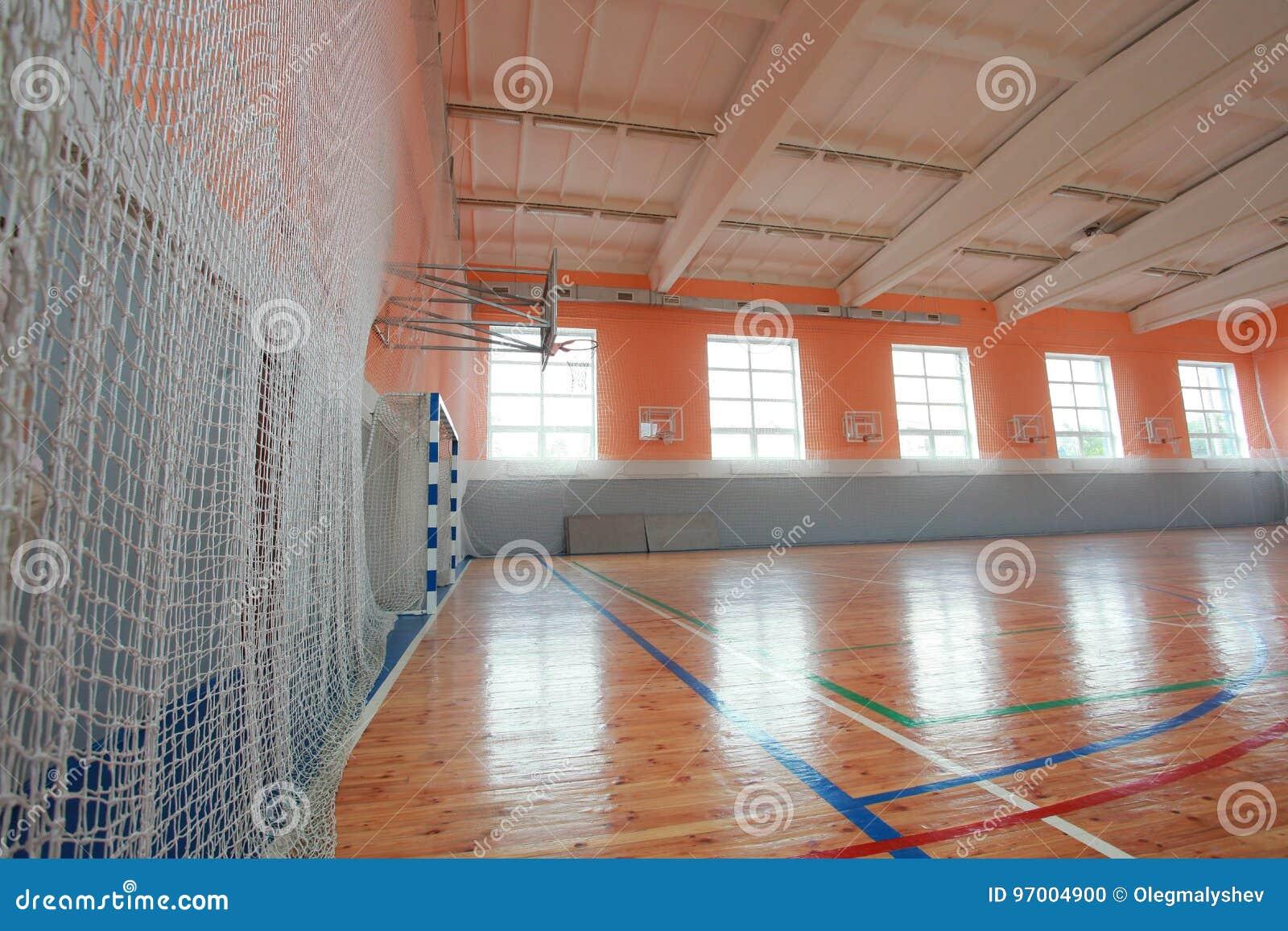 Basketball hall indoor court wood floor