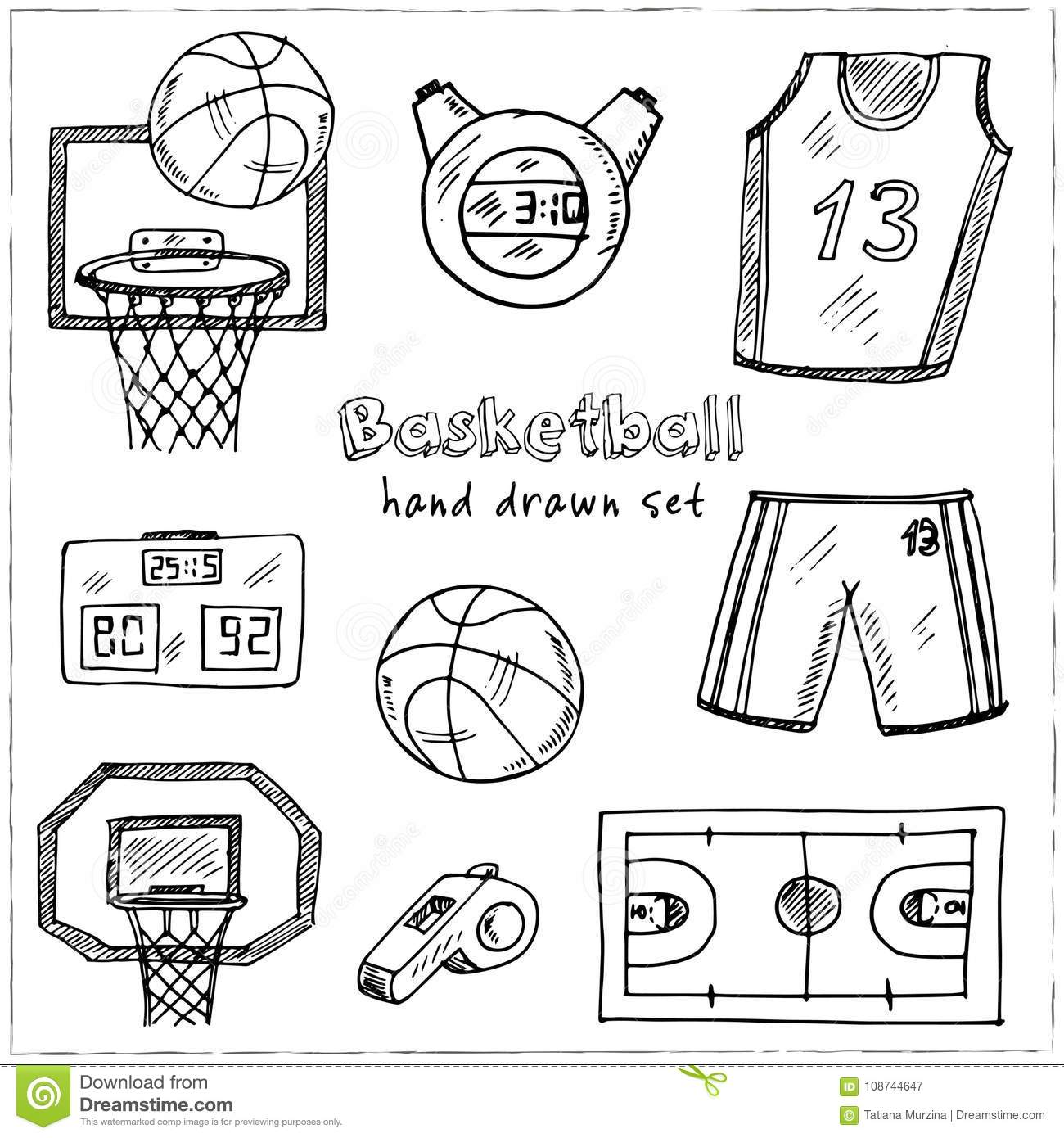 Basketball. Hand drawn doodle set. Sketches. Vector illustration for design and packages product.
