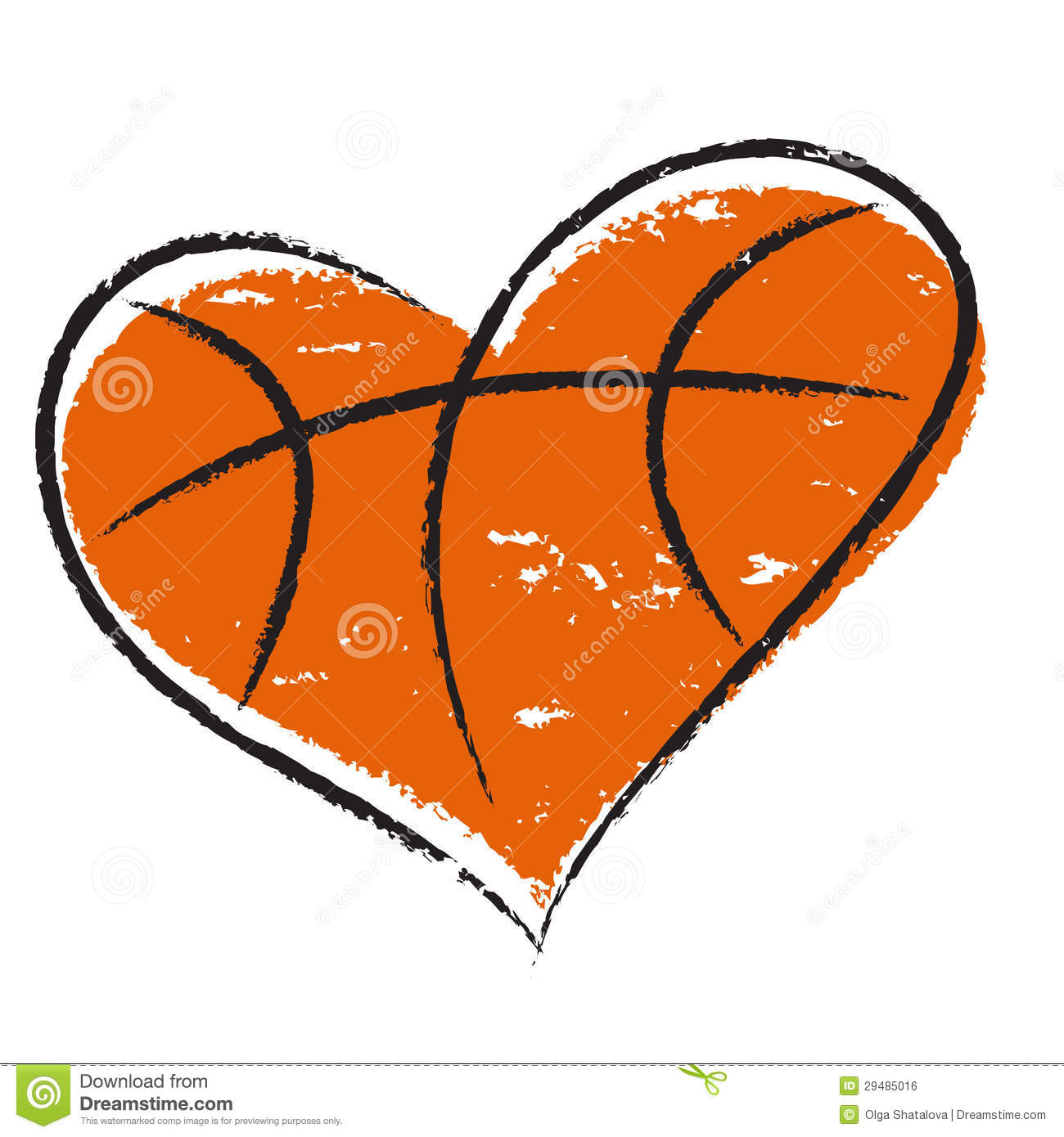Basketball heart isolated on white background for sports design ...