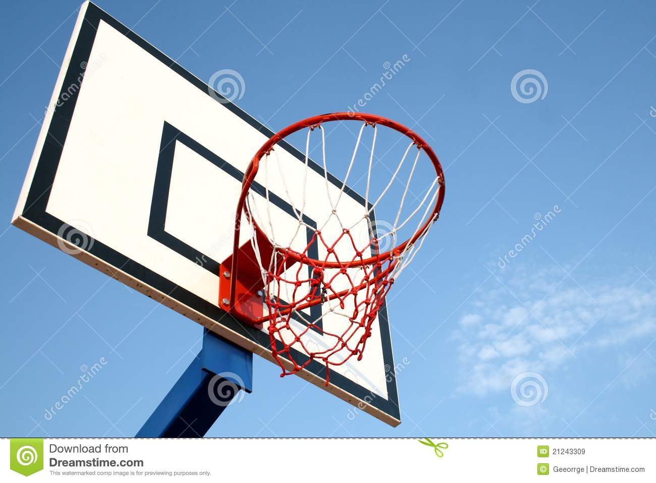 A Basketball Hoop With Blue Sky In Backgound Stock Image ...