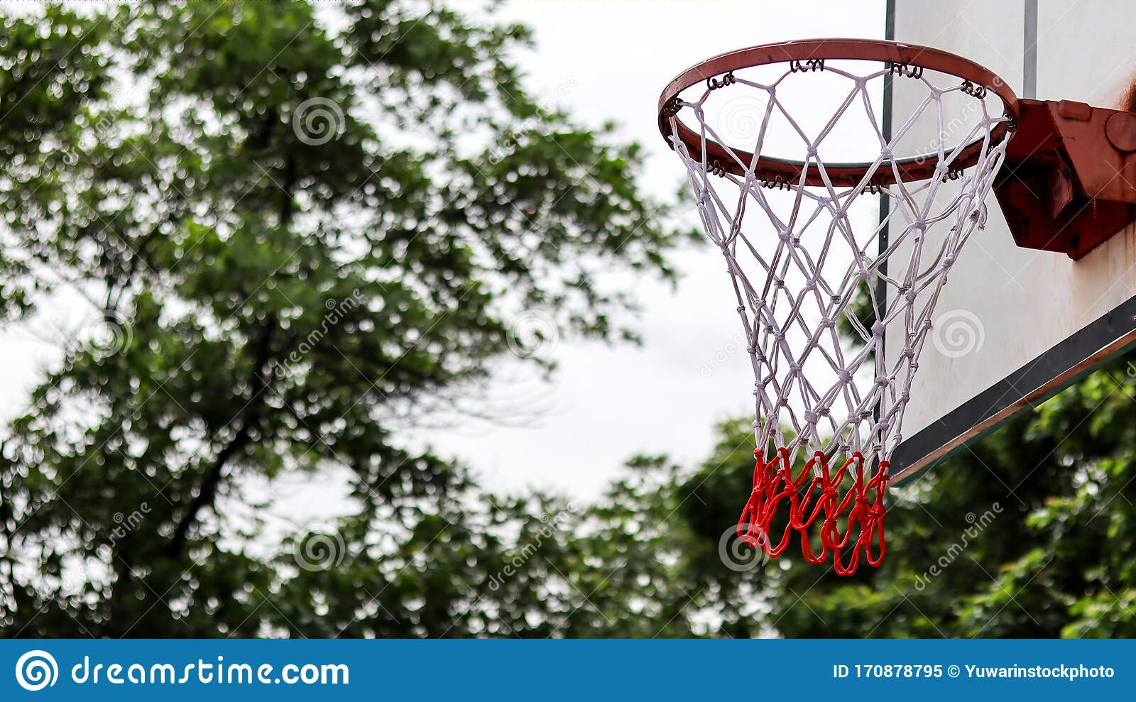 Basketball Hoop With Blue Sky And Blur Tree Background In ...
