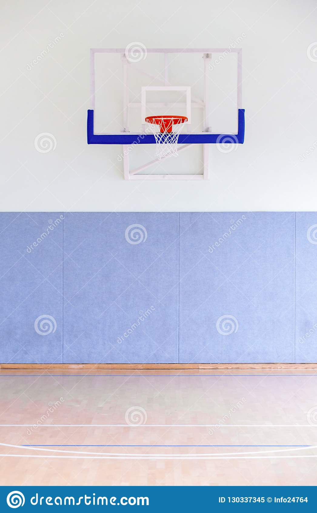 Basketball hoop cage, isolated large backboard closeup, new outd