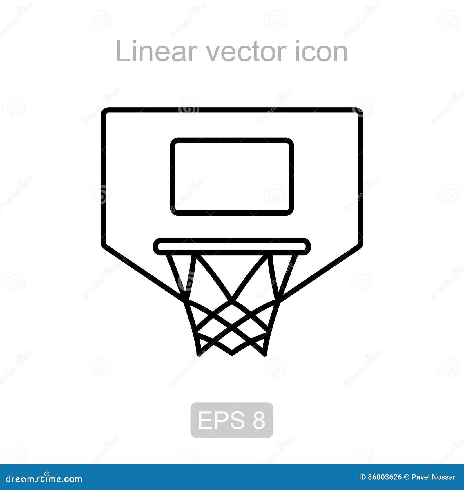 Basketball hoop. Linear icon.