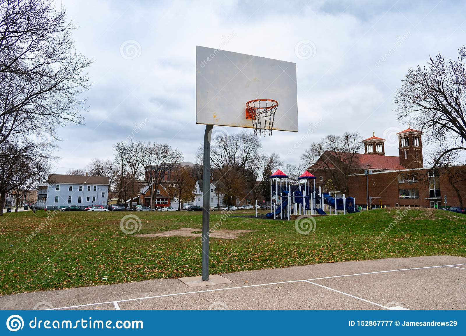 Basketball Hoop in a Midwestern Park on a Cold Day