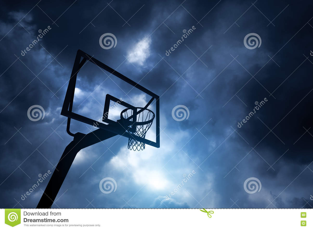 Basketball hoop and sky stock image. Image of white ...