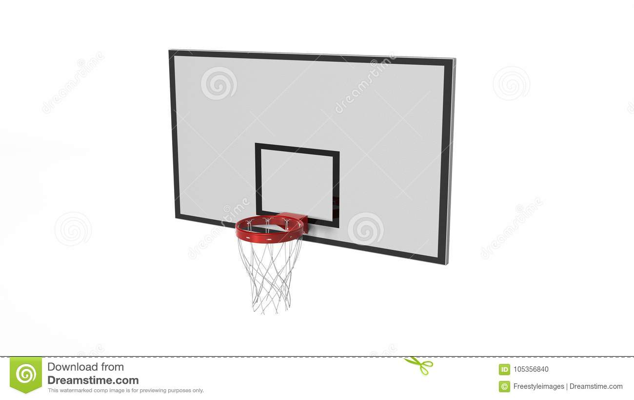 Basketball Hoop Sports Equipment Isolated On White Background 3d Diagram Illustration