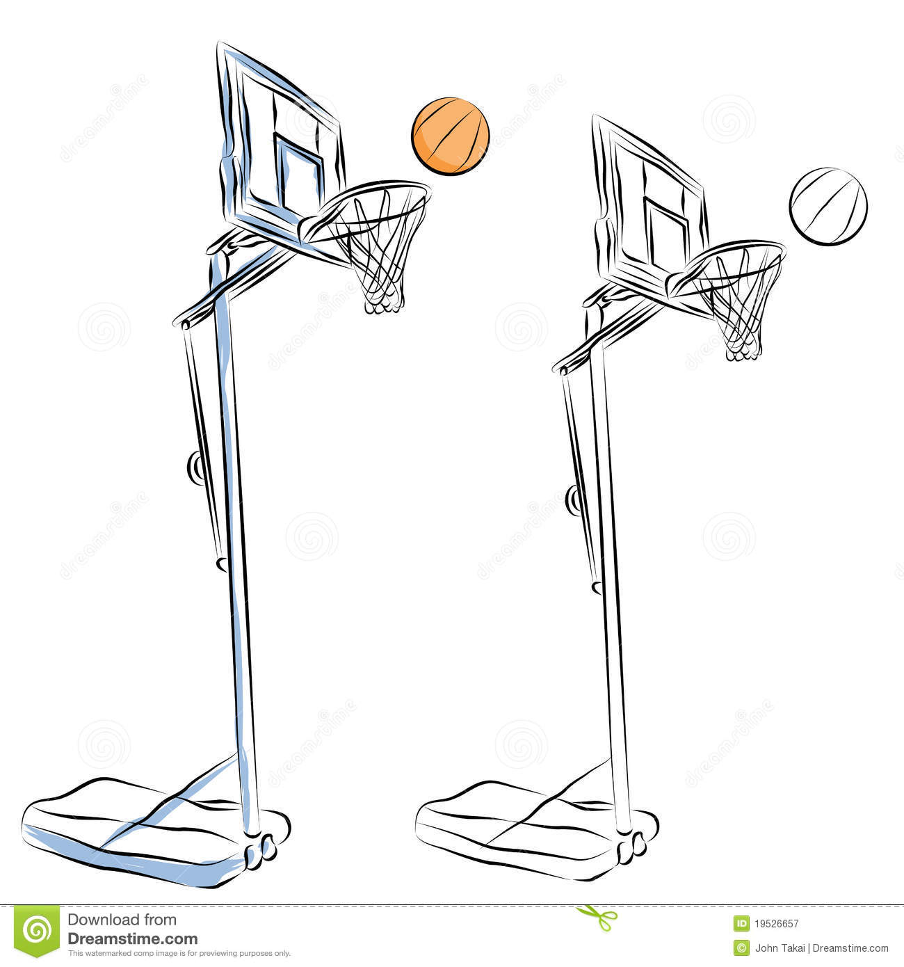 Line Drawing Basketball : Basketball hoop stand line drawing royalty free stock
