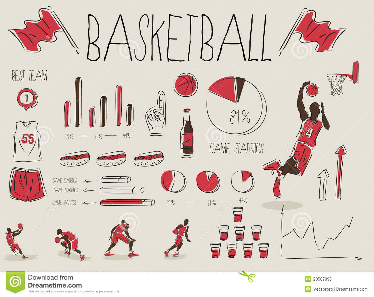 Basketball Infographic Stock Photo - Image: 23507890
