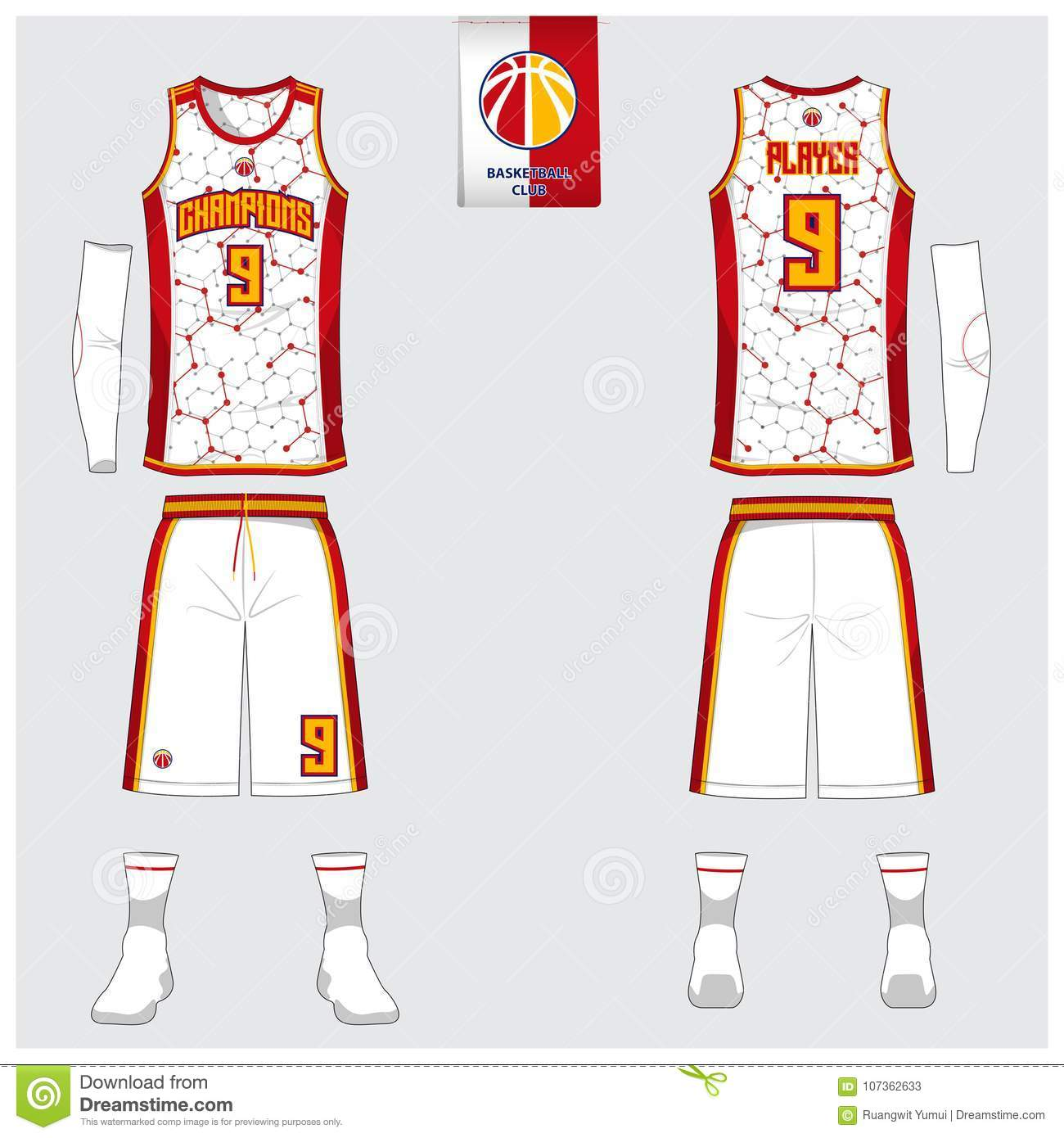 3d7270013d0 Basketball jersey, shorts, socks template for basketball club. Front and  back view sport uniform. Tank top t-shirt mock up. Royalty-Free Illustration