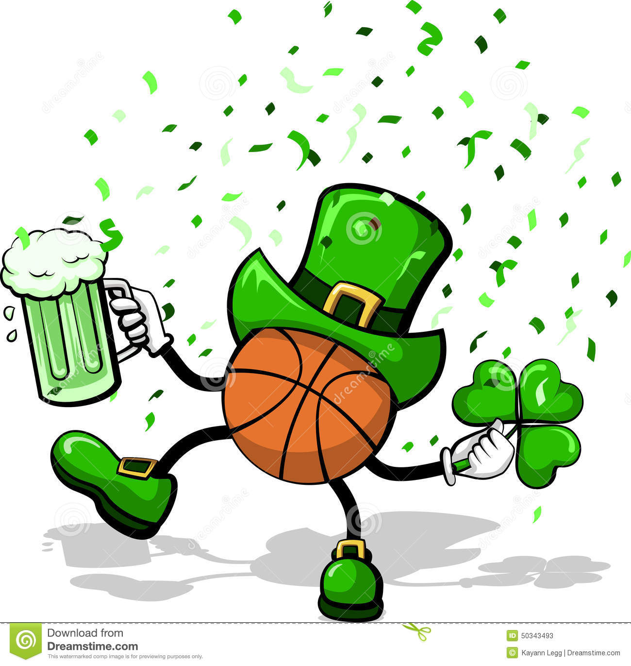 basketball leprechaun celebrating St. Patrick's Day by dancing with ...
