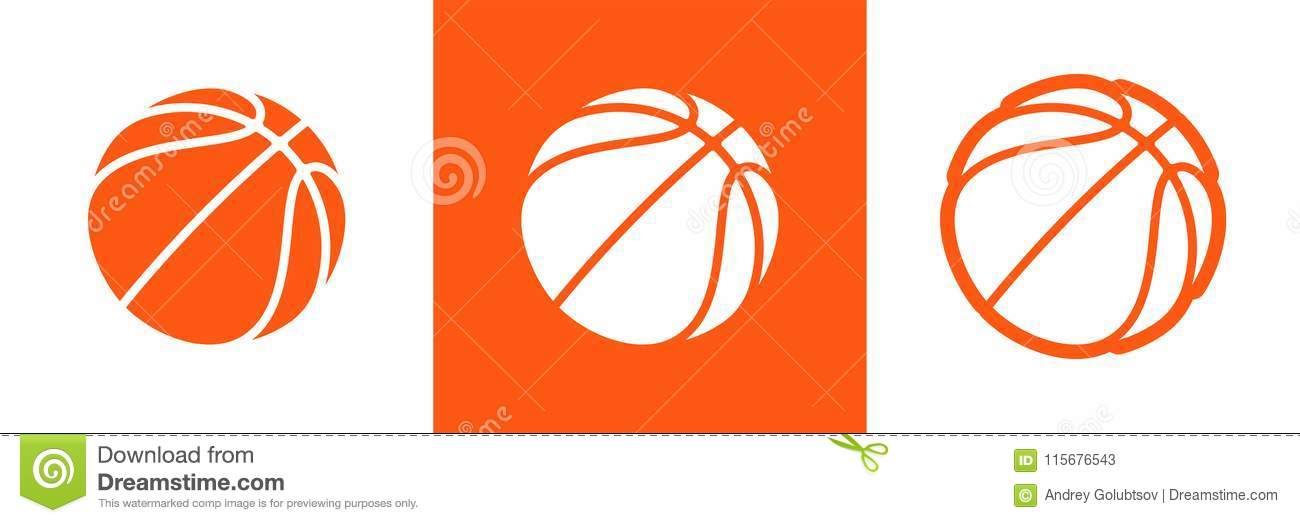 Basketball logo set of vector icon for streetball championship tournament, school or college team league. Vector flat basket ball