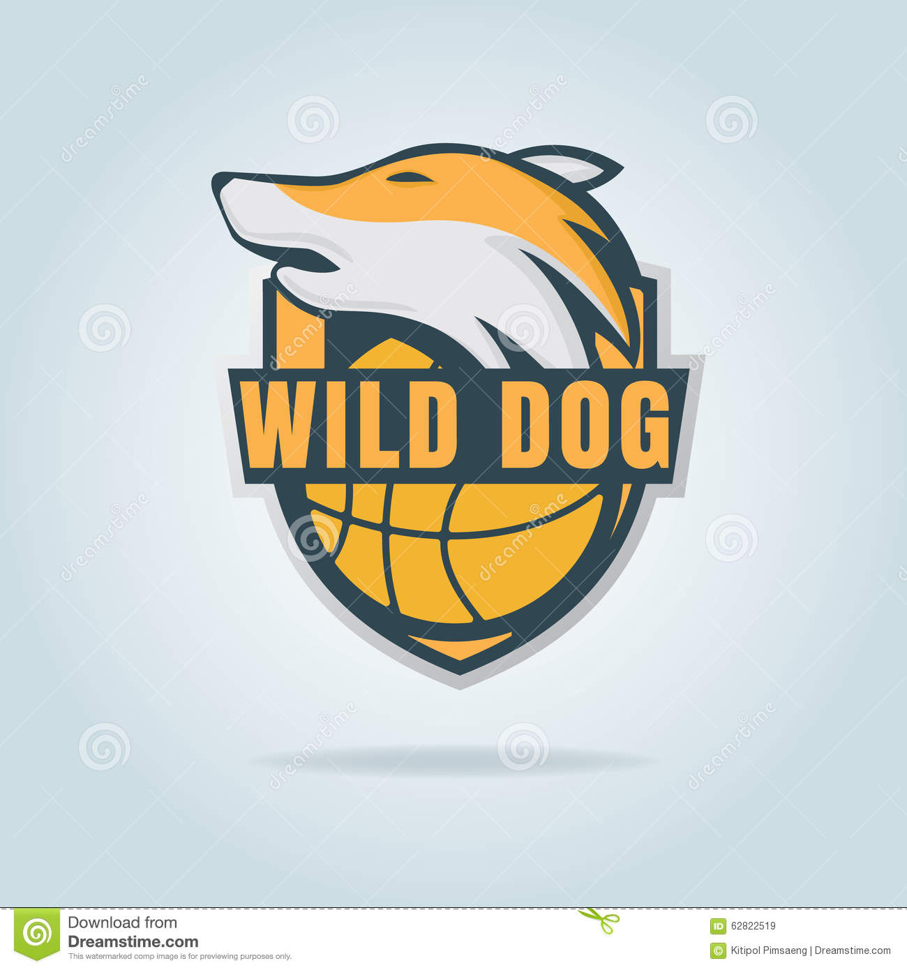 basketball logo template with wild dog stock vector image 62822519. Black Bedroom Furniture Sets. Home Design Ideas