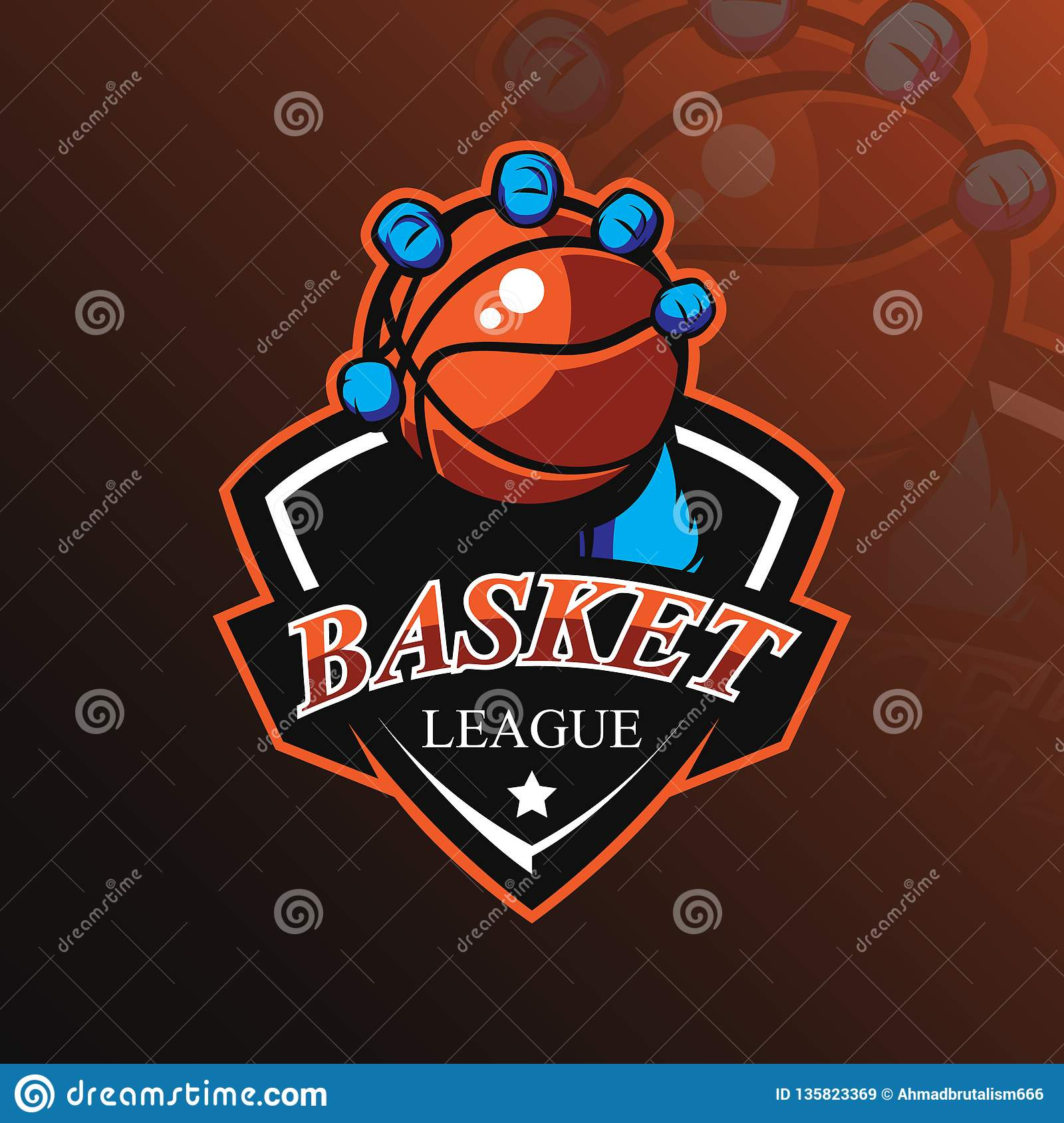Basketball mascot logo design vector with modern illustration concept style for badge, emblem and tshirt printing. basketball