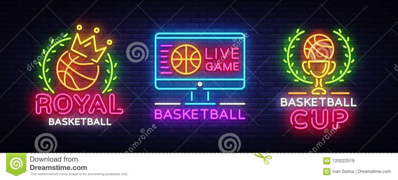 Basketball Neon Logo collection Vector. Basketball neon sign, design template, modern trend design, sports neon