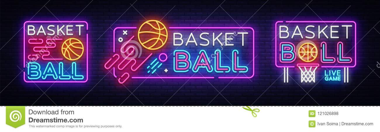 Basketball neon sign collection vector. Basketball Design template neon sign, light banner, neon signboard, nightly