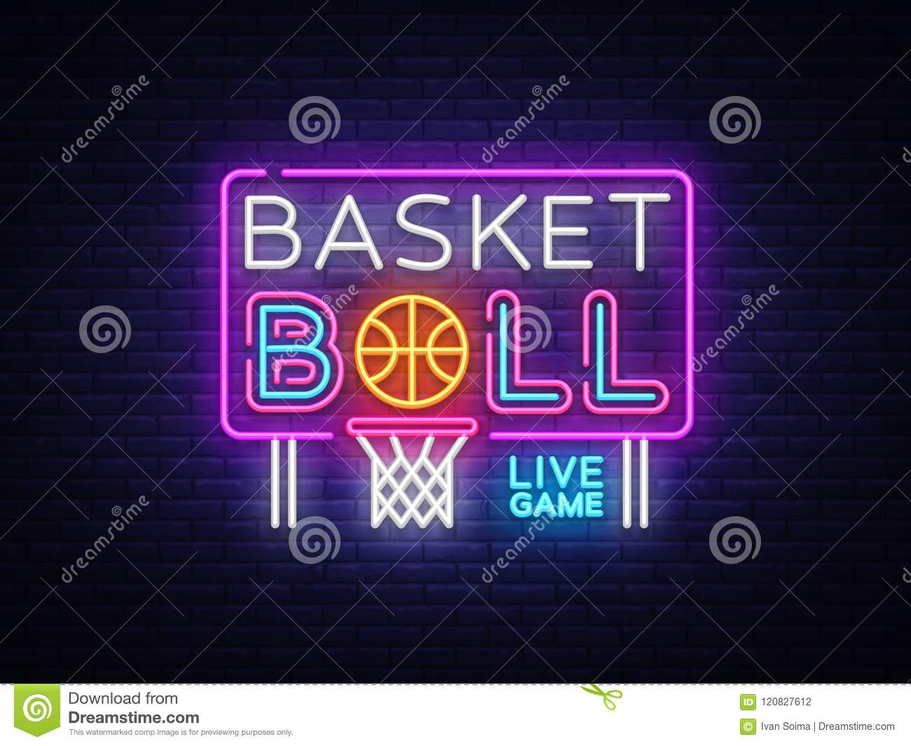 Basketball neon sign vector. Basketball Design template neon sign, light banner, neon signboard, nightly bright