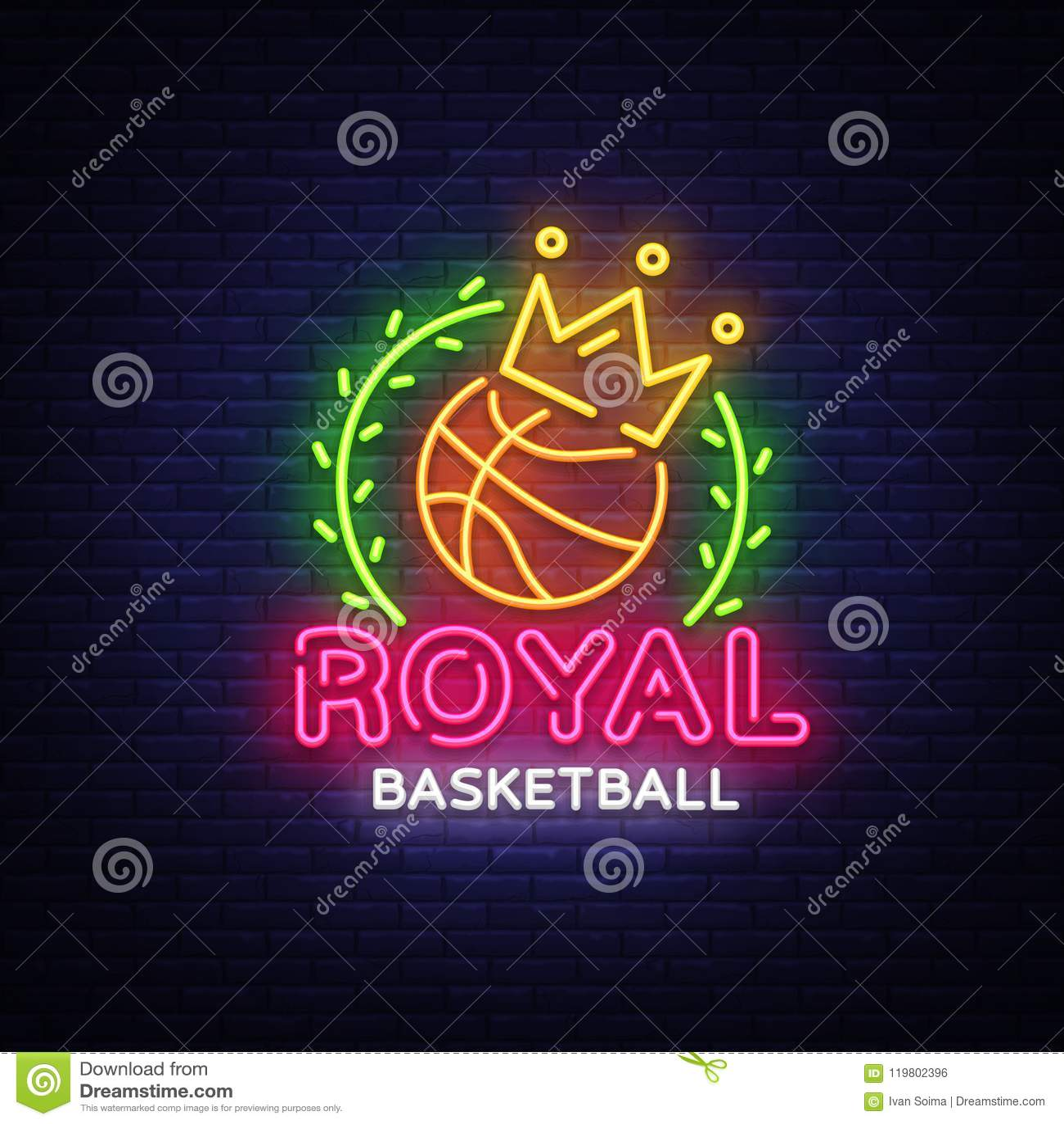 Basketball neon sign vector. Royal Basketball Design template neon sign, light banner, neon signboard, modern trend