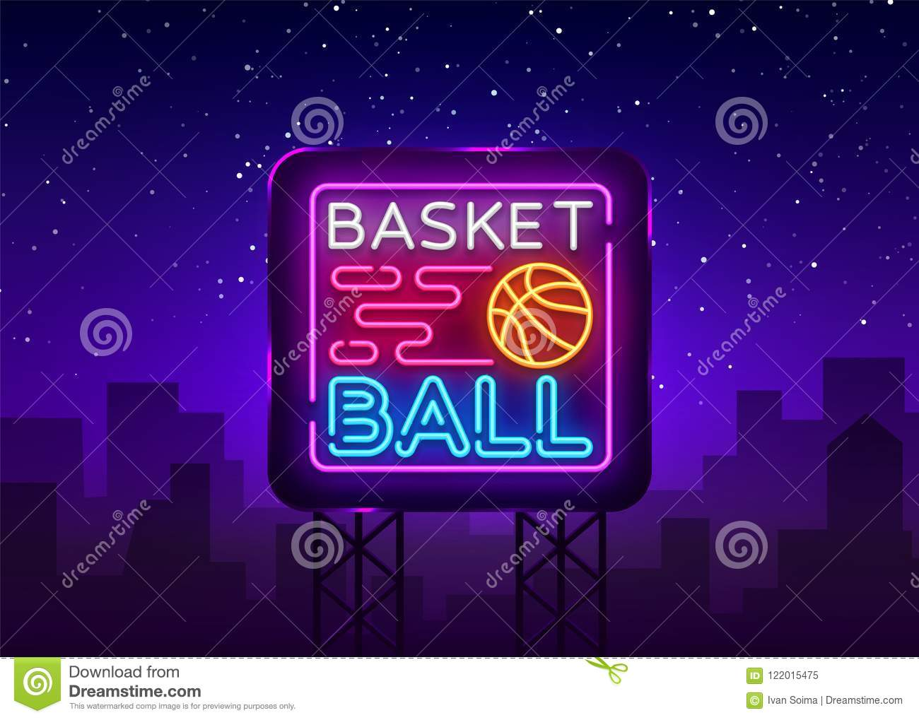 Basketball Night Neon Logo Vector. Basketball neon sign, design template, modern trend design, sports neon signboard