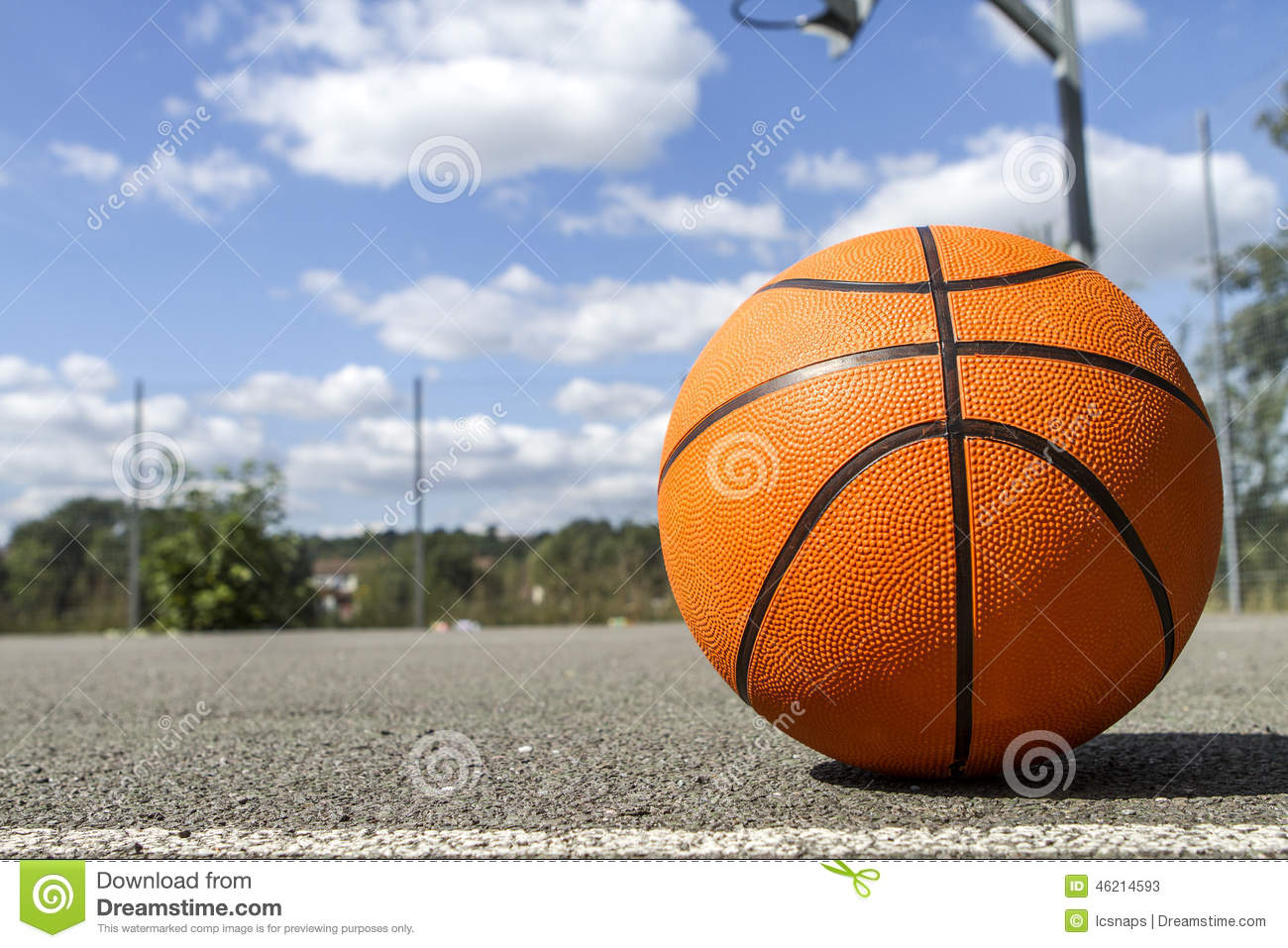 Basketball On An Outdoor Court On A Bright Sunny Day Stock ...