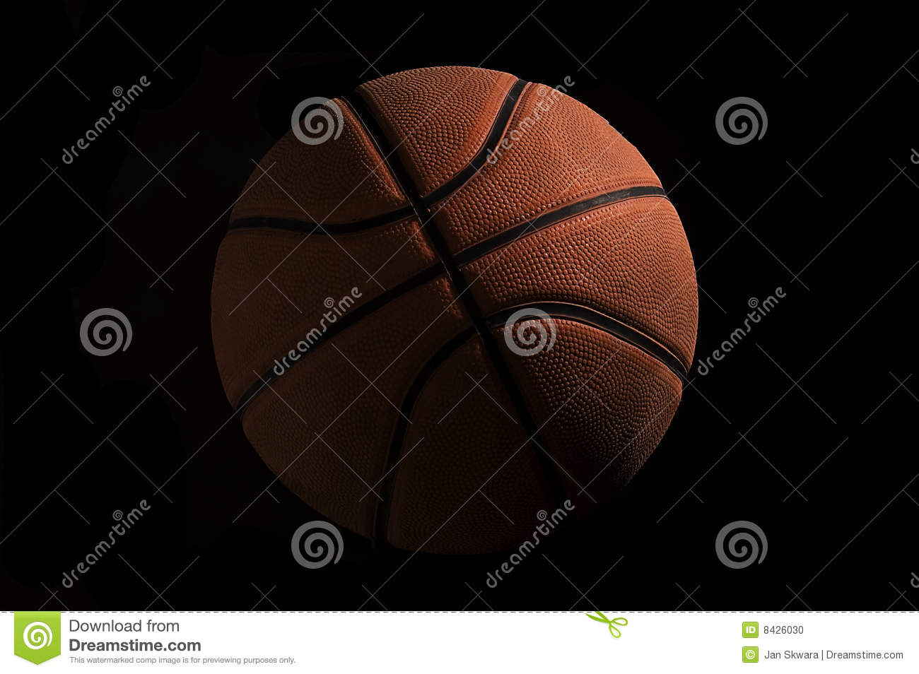 Basketball over black background