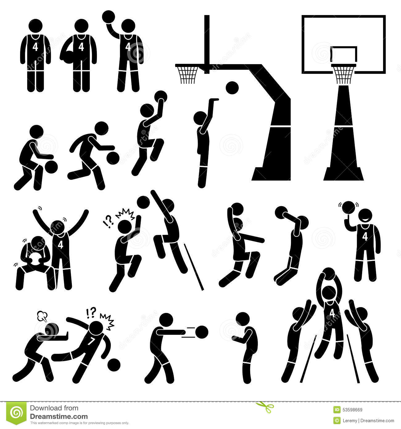 Basketball Player Action Poses Cliparts Stock Vector - Image: 53598669