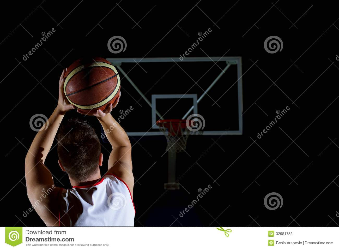 Basketball game sport player in action isolated on black background.